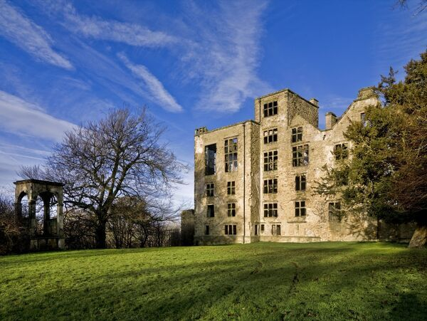 HARDWICK OLD HALL, Derbyshire. View of the south front showing the conduit house on the left