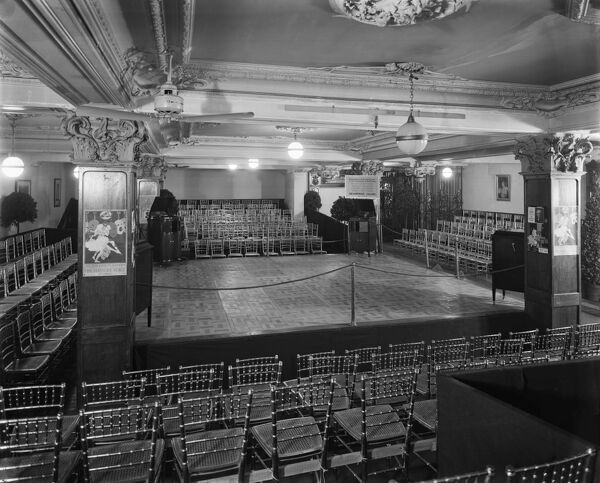 Harrods, Brompton Road, Knightsbridge, London. The dancing room in Harrods department store, 1923. There are several gramophones for demonstrations of music. Harrods was founded in 1849, but the current building was built in stages between 1901-1930