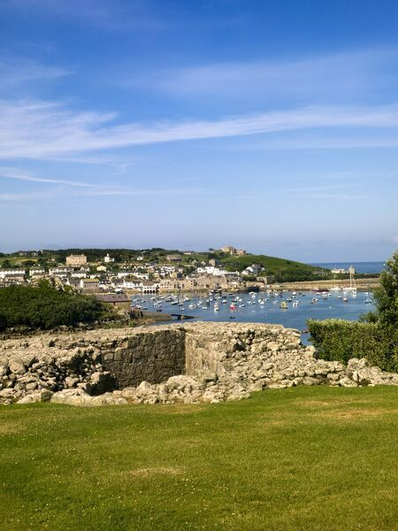 HARRY'S WALLS, St Mary's, Isles of Scilly. View over the battery wall looking towards St Mary's Pool Harbour
