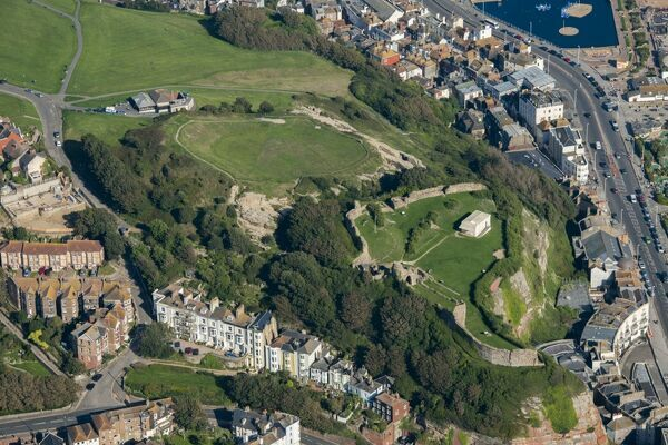 Hastings, East Sussex. This view shows the plan of this keep and bailey castle on the cliffs above the town. In 1287, following violent storms, some of the castle was lost when cliffs collapsed into the sea. Photographed in September 2015