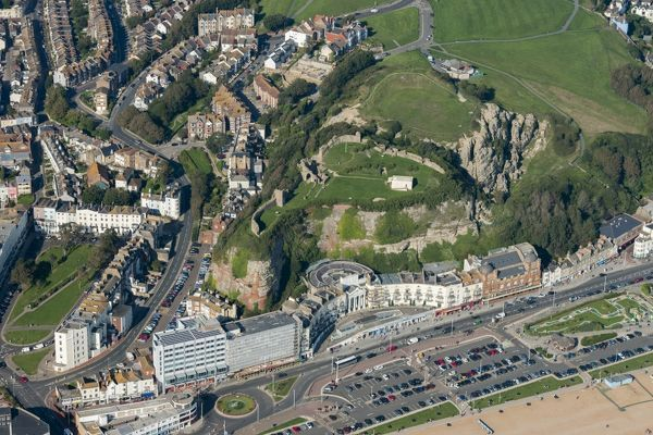 Hastings, East Sussex. This view shows the plan of this keep and bailey castle on the cliffs above the town. Photographed in September 2015