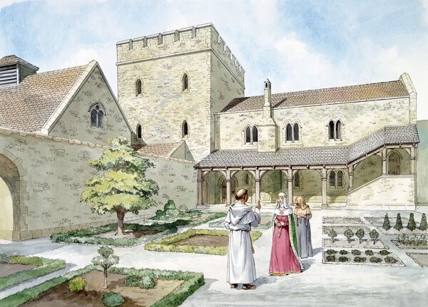 HELMSLEY CASTLE, North Yorkshire. Reconstruction drawing by Philip Corke of the 14th century West Range. Monk, lady and lady-in-waiting