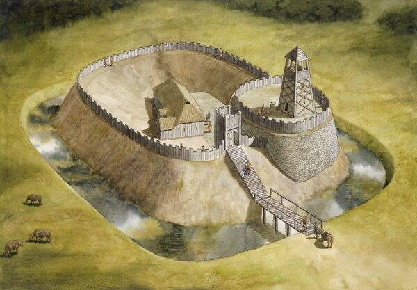 HELMSLEY CASTLE, North Yorkshire. Reconstrution drawing showing original timber buildings in early 12th century by Simon Hayfield