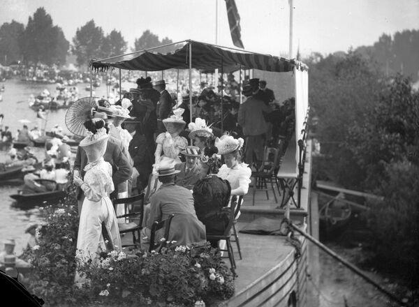 Taking tea at the Henley Regatta, Oxfordshire
