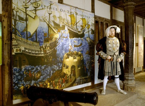 "PORTLAND CASTLE, Dorset. View of the Henry VIII model in the great hall exhibition ""Defence of the Kingdom&quot"