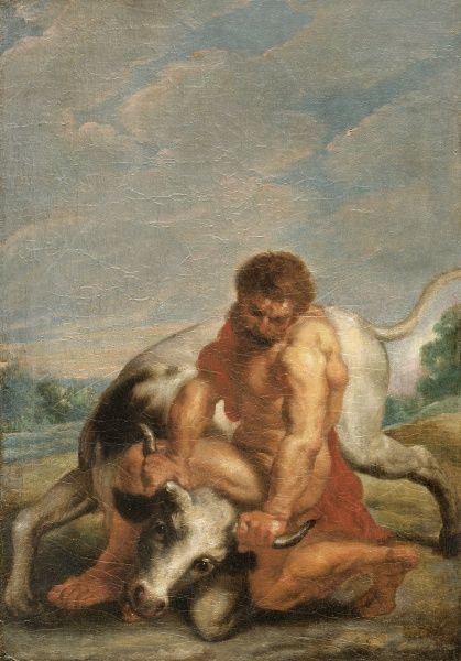 "APSLEY HOUSE, London. ""Hercules Wrestling with Achelous in the form of a Bull"" after RUBENS. WM 1597-1948. After treatment"