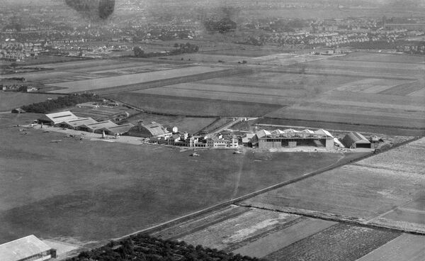 Heston Aerodrome, Hounslow, London. Aerial view by Aeropictorial. Heston operated as an airport between 1929 and 1947. February 1936. Aerofilms Collection