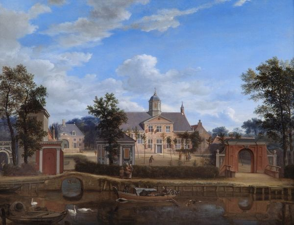 "APSLEY HOUSE, London. ""The Chateau of Goudestein, on the River Vecht, near Maarsen"" c. 1674 by Jan Van Der HEYDEN (1637-1712). WM 1501-1948"