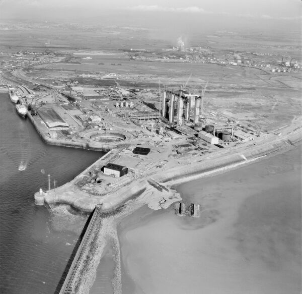Heysham, Lancashire. Construction of a nuclear power station. Photographed in July 1964. Aerofilms Collection