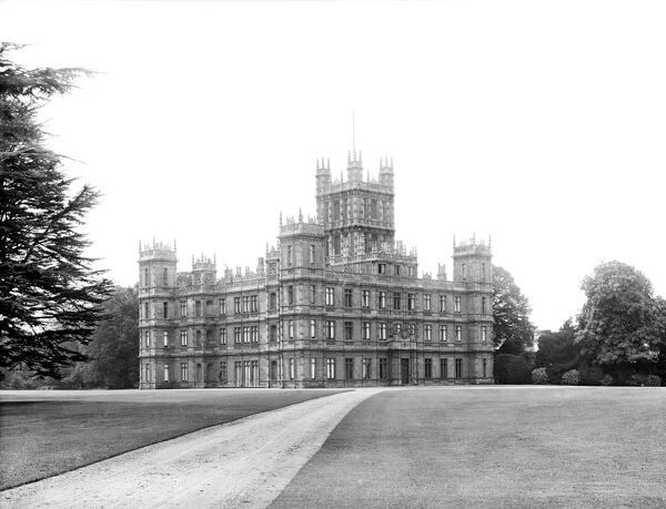 HIGHCLERE CASTLE, Highclere, Hampshire. The exterior of the largest mansion in Hampshire from the north-east. An Elizabethan-style remodelling of an earlier classical mansion by Sir Charles Barry in 1839-42 for Henry Herbert, 3rd Earl of Carnarvon