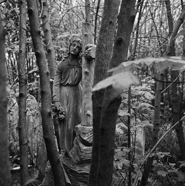 HIGHGATE CEMETERY, Hampstead, London. Statue of a young woman holding a cross carved in the form of a tree, marks the grave of Emily Marianne Wilson, hidden amongst the woodland of the West Cemetery. Photographed by John Gay, May 1989