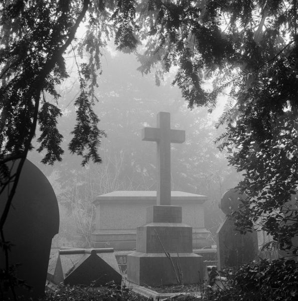 HIGHGATE CEMETERY, Hampstead, London. Graves in the fog of the West Cemetery. Photographed by John Gay in 1992