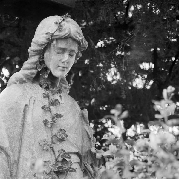 HIGHGATE CEMETERY, Hampstead, London. The statue of a sad or sleeping figure with ivy creeping up it in the East Cemetery. Photographed by John Gay in 1995
