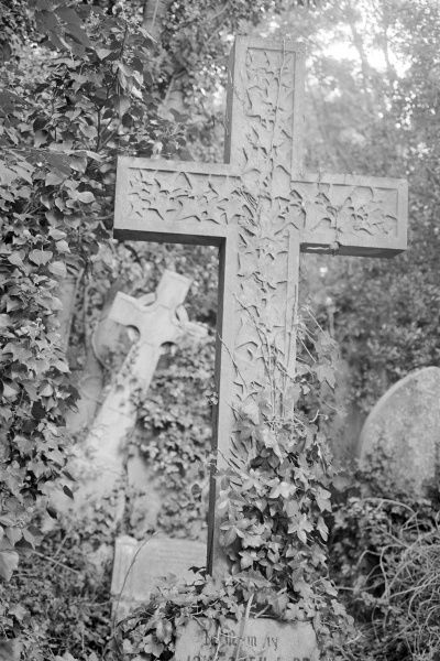 HIGHGATE CEMETERY, Hampstead, London. Two crosses amongst the ivy of the East Cemetery. Photographed by John Gay in 1997