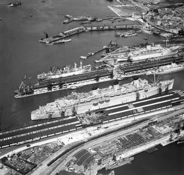 HMT QUEEN MARY at home in Southampton in June 1946 between round trips to Halifax, Nova Scotia and New York