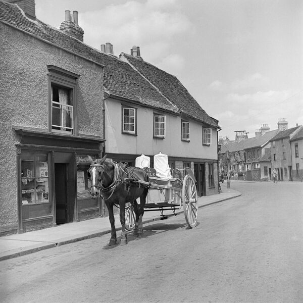 BURY ST EDMUNDS, Suffolk. Some commodities were still delivered using a horse and cart in the post-war years