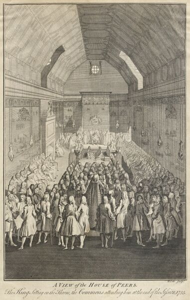 House of Lords, Westminster, London. a€˜A view of the House of Peers. King sitting on the throne, the Commons attending him at the end of the session, 1755a€™ Engraving by B. Cole. Mayson Beeton Collection