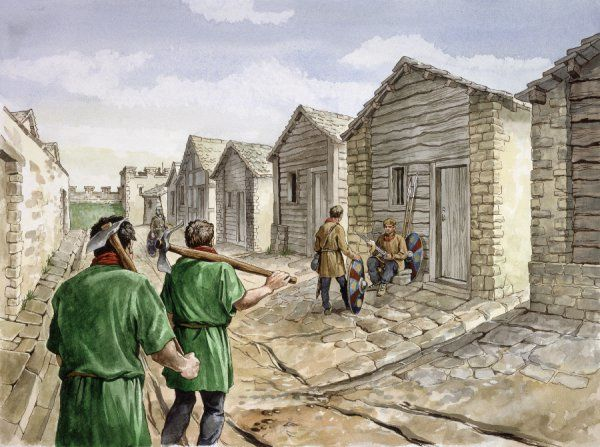 HADRIAN'S WALL, HOUSESTEADS ROMAN FORT (VERCOVICIUM). Reconstruction drawing of Barrack XIV in the 4th century AD by Philip Corke. hadrian
