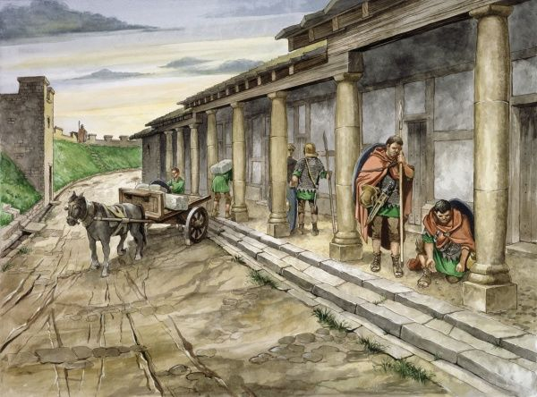 HADRIAN'S WALL: HOUSESTEADS ROMAN FORT (VERCOVICIUM), Northumberland. Reconstruction drawing of Barrack XIII in the 2nd century AD by Philip Corke