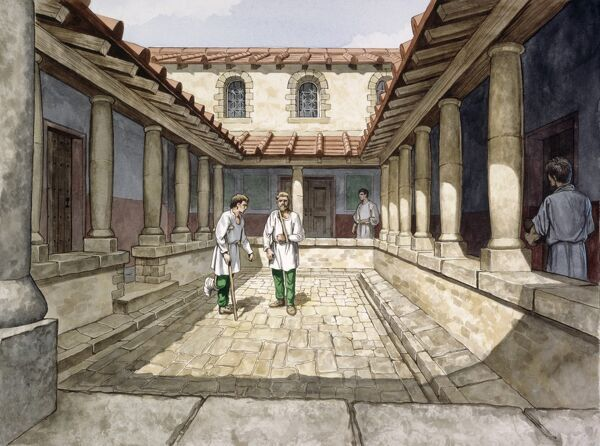 HADRIAN'S WALL, HOUSESTEADS ROMAN FORT (VERCOVICIUM) Reconstruction drawing of the Hospital in the 2nd century AD by Philip Corke. hadrian