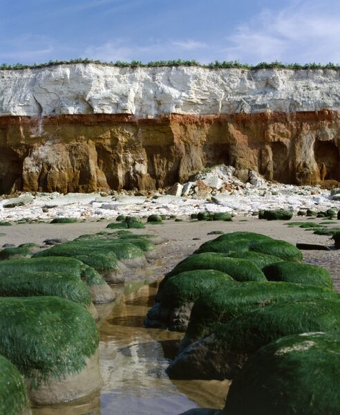 HUNSTANTON BEACH, Norfolk. View of cliffs and rocks on beach