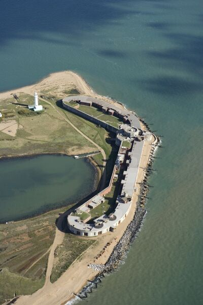 HURST CASTLE, Hampshire. Aerial view of the castle showing its position on the spit