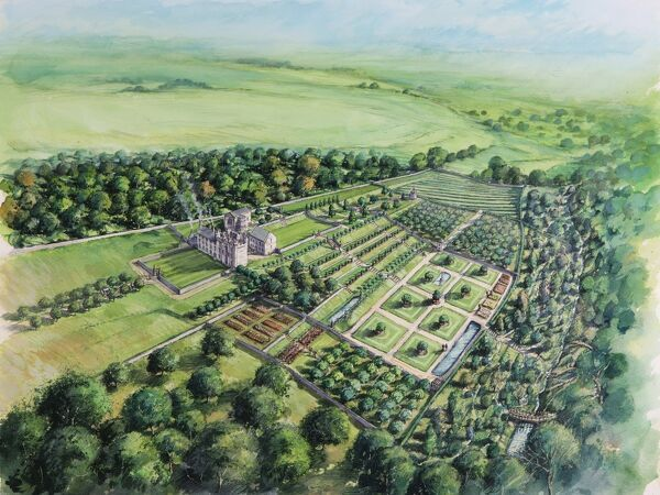 HYLTON CASTLE, Sunderland, Tyne and Wear. Aerial reconstruction drawing of castle and grounds during the early 18th century by Peter Dunn (English Heritage Graphics Team)