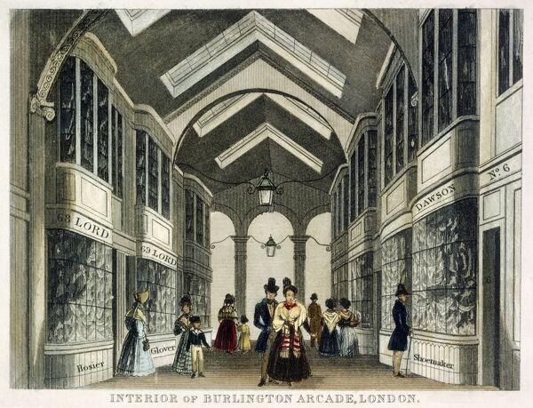 "MAYSON BEETON COLLECTION. ""Interior of Burlington Arcade, London"" Engraving by anon c. 1830"