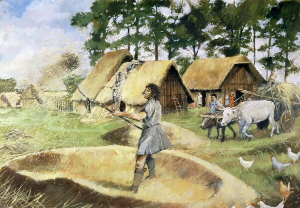 SILCHESTER ROMAN CITY WALLS, Hampshire. Reconstruction drawing by Ivan Lapper. Recent research suggests that Iron Age Silchester was much more of an organised large town than the rural settlement that this picture implies