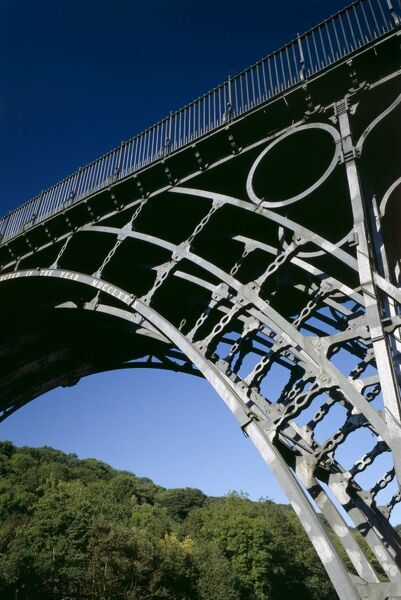 IRON BRIDGE, Shropshire. A section of the famous cast iron bridge. Designed by Thomas Pritchard and built in 1779 by Abraham Darby III of the Coalbrookdale Company