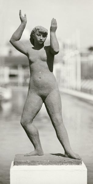 Festival of Britain 1951. Lambeth, London. A sculpture of a female nude by Karin Jonzen, located at the end of Waterways, South Bank Exhibition site. Photographed in August 1951
