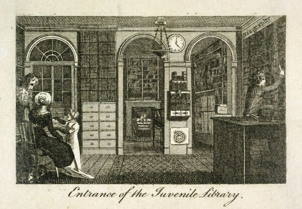 "MAYSON BEETON COLLECTION. Engraving ""Entrance of the Juvenile Library"" (at 157 New Bond Street, London) 1801. Interior view"