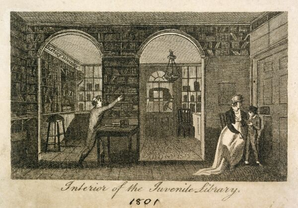 "MAYSON BEETON COLLECTION. Engraving ""Interior of the Juvenile Library"" (at 157 New Bond Street, London) 1801"