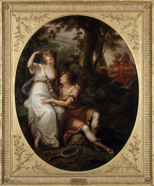 "KENWOOD HOUSE, THE IVEAGH BEQUEST, London. "" Rinaldo and Armida "" c1772 by Angelica Kauffmann (1741-1807). Subject taken from Jerusalem Delivered by Italian poet Torquato Tasso (1544-1595)"