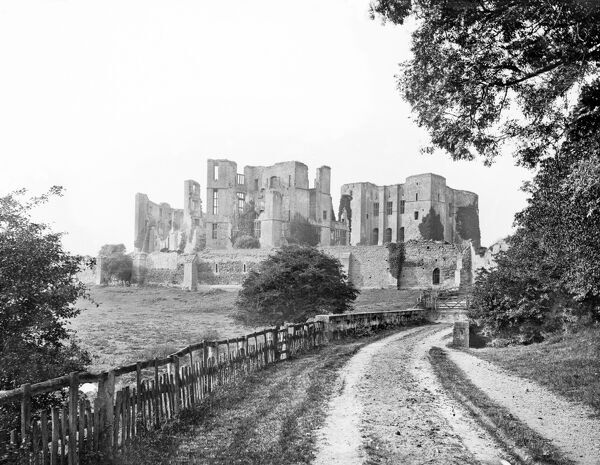 KENILWORTH CASTLE, Warwickshire. A general view of the castle, occupied from the 11th century through to the 20th century, taken from the bridge. Date range 1860 - 1922. Henry Taunt