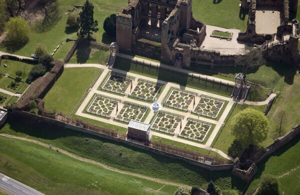 KENILWORTH CASTLE, Warwickshire. The Keep and Elizabethan Garden from the air