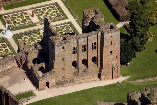 KENILWORTH CASTLE, Warwickshire. Aerial view of the keep from the south