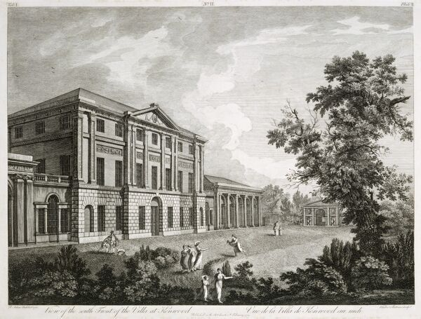 "KENWOOD HOUSE, THE IVEAGH BEQUEST, London. ""View of the South Front of the Villa at Kenwood"". Exterior view. Engraving by Giovanni VITALBA and Benedetto PASTORINI from Robert ADAM'S ""Works&quot"