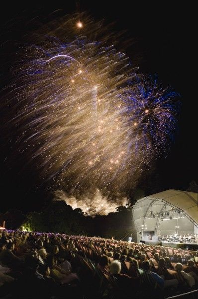 KENWOOD HOUSE, London. Fireworks during an event at the Concert Bowl