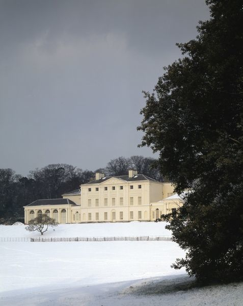 KENWOOD HOUSE, London. Exterior view. South front of the house and grounds during snow