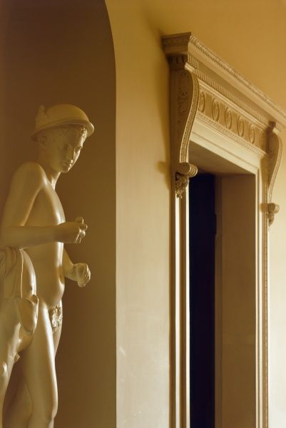 KENWOOD HOUSE, London. Interior view. The Ante Chamber. View of the door to the Library and the c.1763-7 plaster copy statue of Mercury. 2001