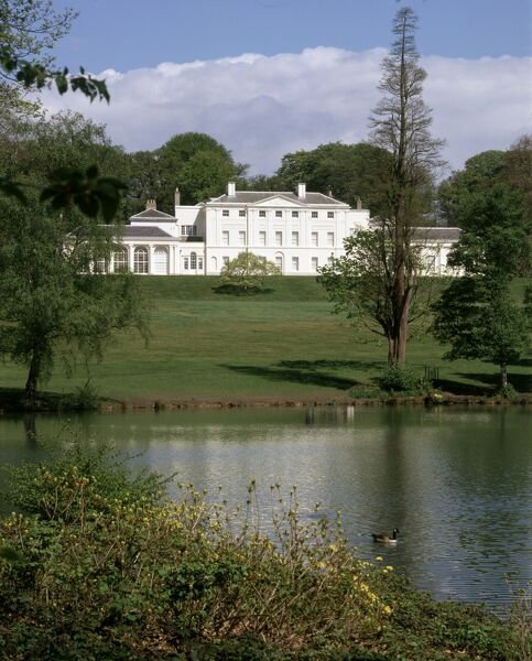 KENWOOD HOUSE, London. Exterior view. The house and grounds. South elevation from across the lake