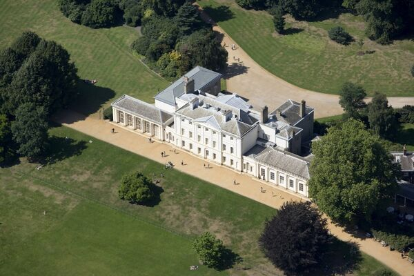 KENWOOD HOUSE, London. Exterior view. Aerial view of the south front, from the south east, with surrounding parkland