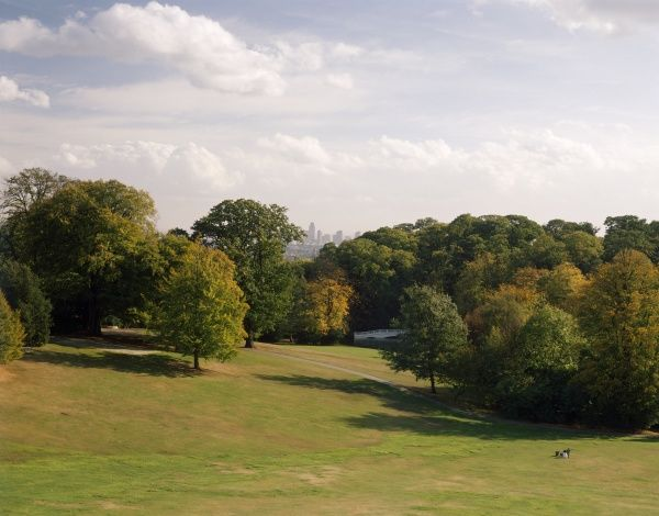 KENWOOD HOUSE, London. View of the parkland from Kenwood looking towards the City