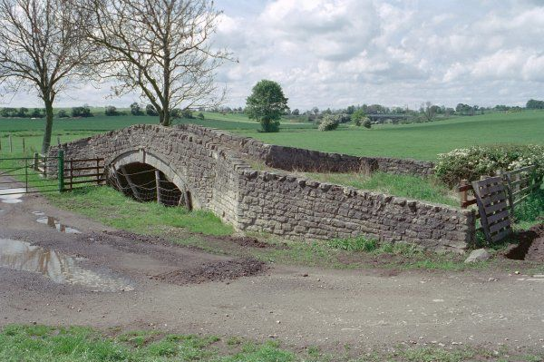 Low and narrow hump-backed bridge of the late C17- early C18. County Durham. IoE 350387