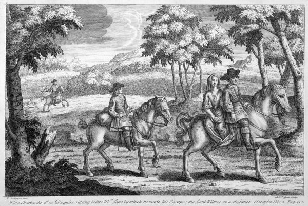 BOSCOBEL HOUSE, Staffordshire. 'King Charles II in disguise riding before Mrs Lane by which he made his escape: the Lord Wilmot at a distance'. Engraving by Gucht