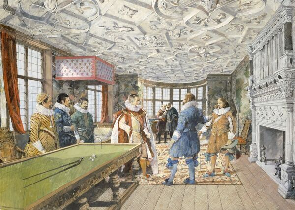 KIRBY HALL, Northamptonshire. Interior view. The Great Withdrawing Room as it might have appeared in the early 17th century. Reconstruction drawing by Ivan Lapper