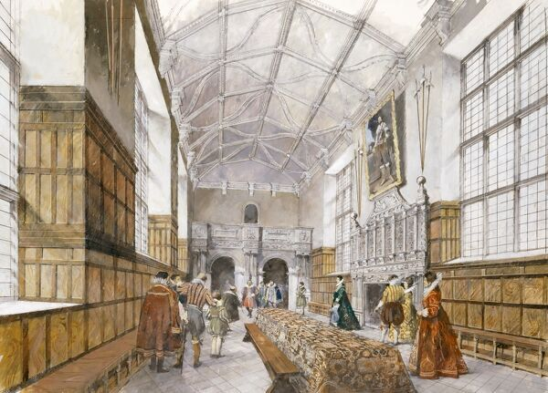 KIRBY HALL, Northamptonshire. Interior view of the hall as it might have appeared in the early 17th century. Reconstruction drawing by Ivan Lapper