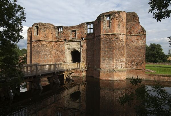 KIRBY MUXLOE CASTLE, Leicestershire. View of the Gatehouse and approach bridge