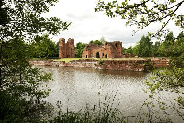 KIRBY MUXLOE CASTLE, Leicestershire. General view, across the moat, from the east